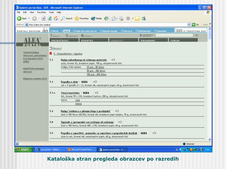Kataloška stran pregleda po razredih