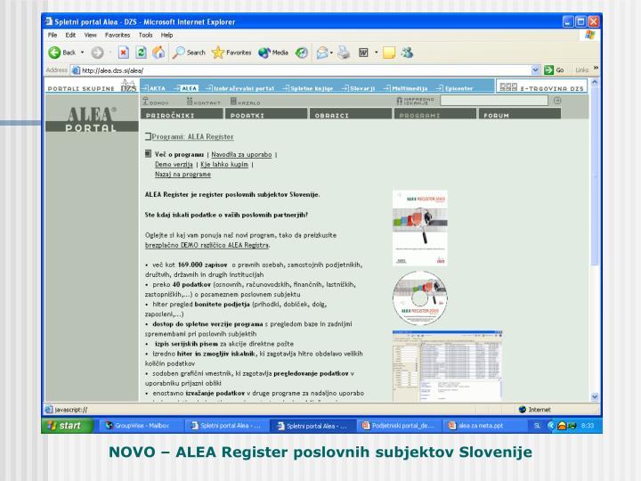 NOVO – ALEA Register poslovnih subjektov Slovenije