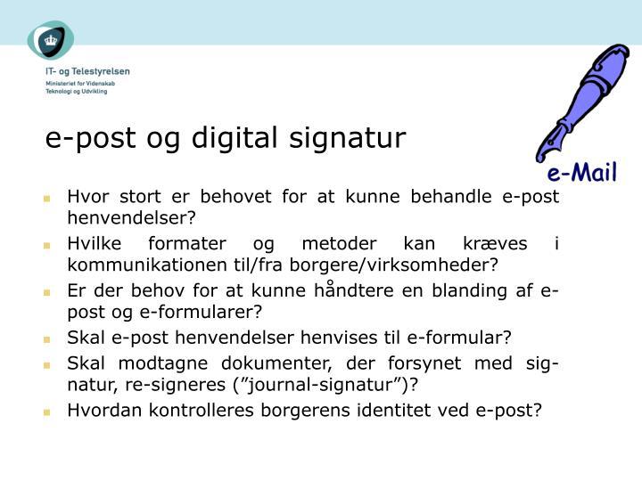 e-post og digital signatur