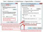 start optionen e mail konten eigenschaften erweitert