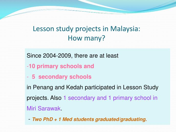 Lesson study projects in Malaysia: