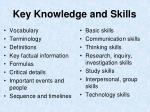 key knowledge and skills