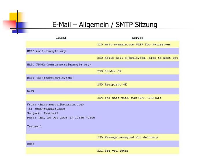 E-Mail – Allgemein / SMTP Sitzung