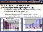 financial snapshot balance sheet cash flow