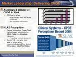 market leadership delivering cpoe