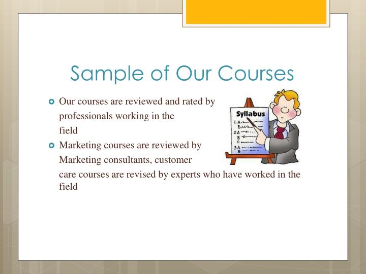 Sample of Our Courses