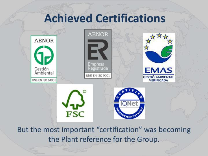 Achieved Certifications