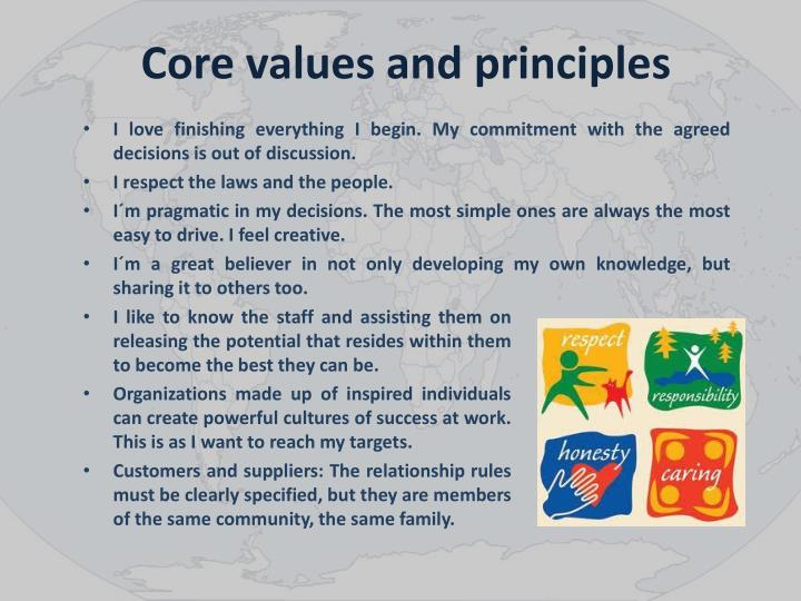 Core values and principles