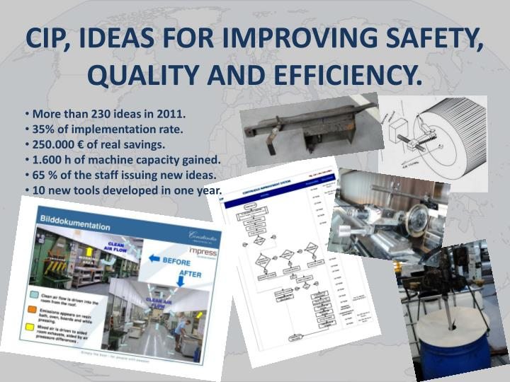CIP, IDEAS FOR IMPROVING SAFETY, QUALITY AND EFFICIENCY.