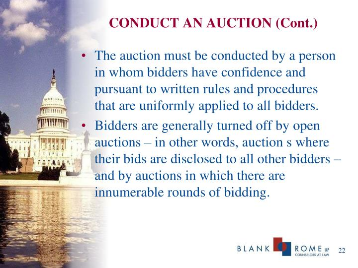CONDUCT AN AUCTION (Cont.)