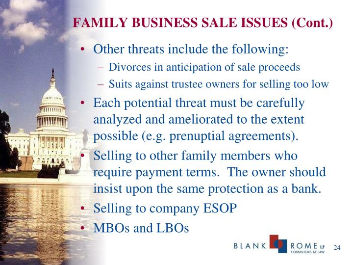 FAMILY BUSINESS SALE ISSUES (Cont.)
