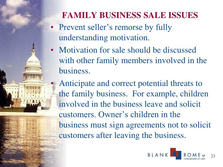 FAMILY BUSINESS SALE ISSUES