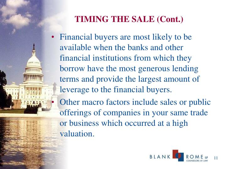 TIMING THE SALE (Cont.)