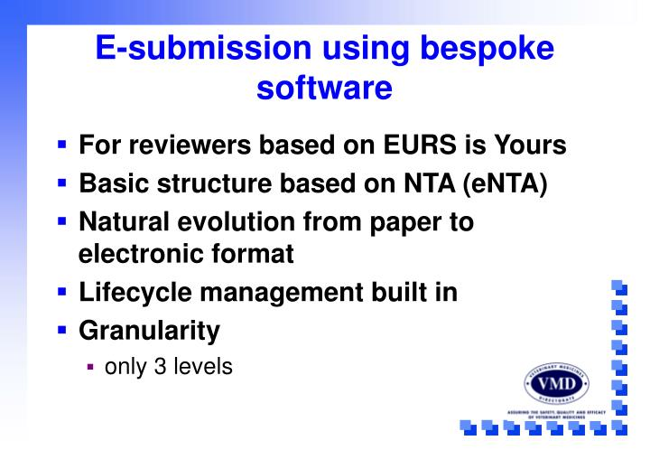 E-submission using bespoke software