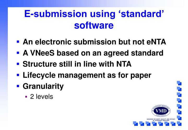 E-submission using 'standard' software
