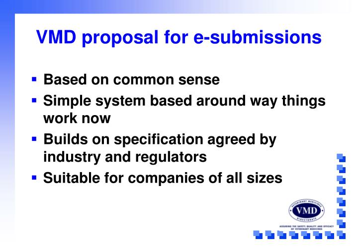 VMD proposal for e-submissions