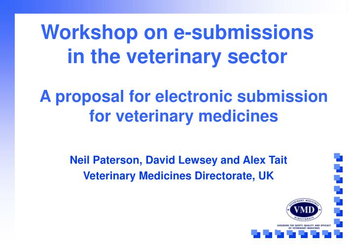 Workshop on e submissions in the veterinary sector
