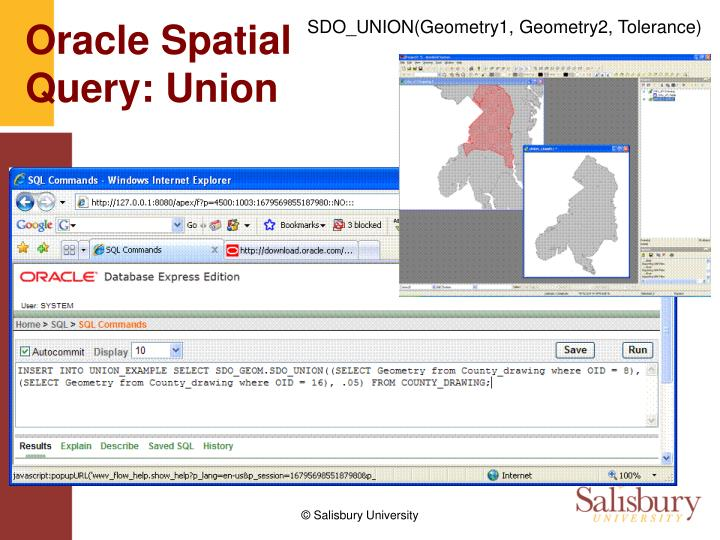 SDO_UNION(Geometry1, Geometry2, Tolerance)