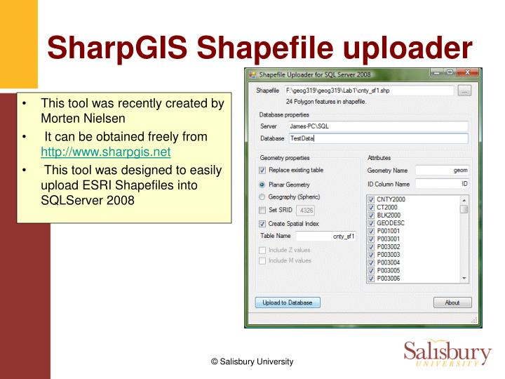 SharpGIS Shapefile uploader