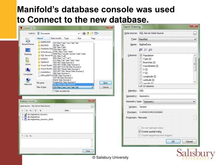 Manifold's database console was used to Connect to the new database.