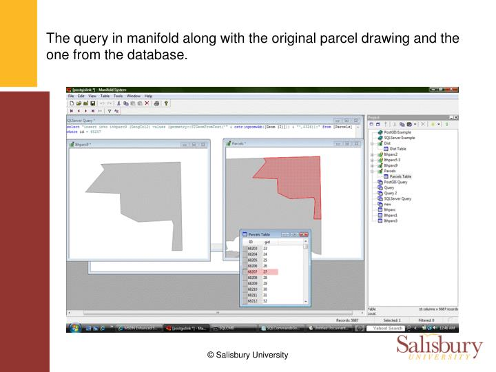 The query in manifold along with the original parcel drawing and the one from the database.