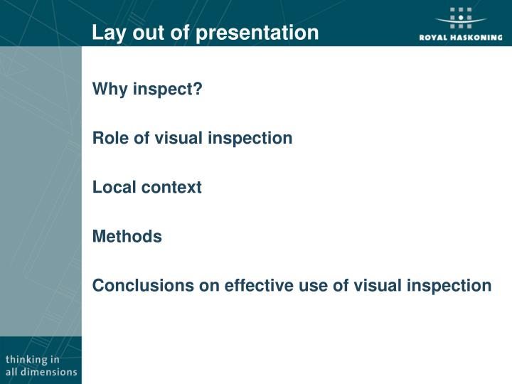 Lay out of presentation