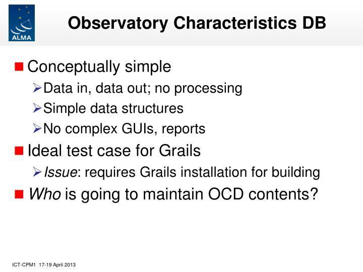 Observatory Characteristics DB