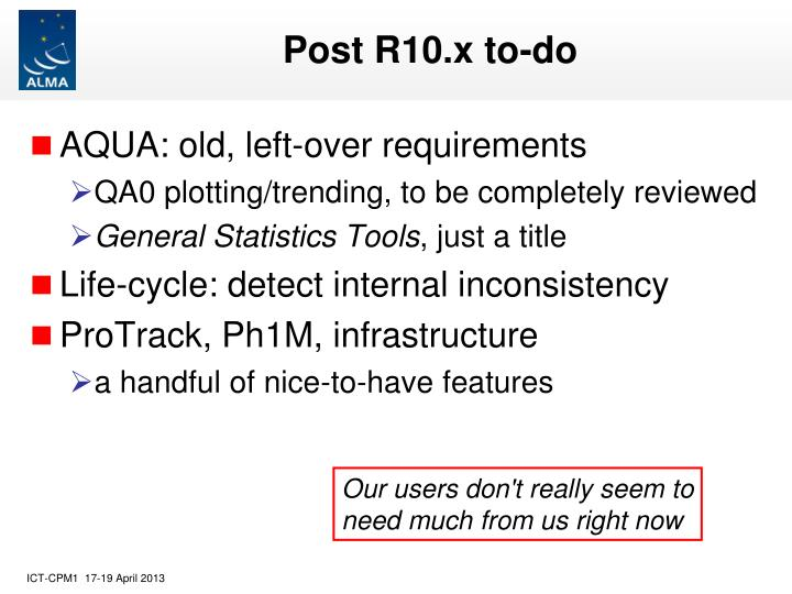 Post R10.x to-do