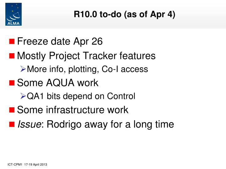 R10 0 to do as of apr 4