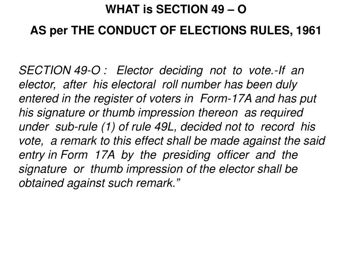 WHAT is SECTION 49 – O