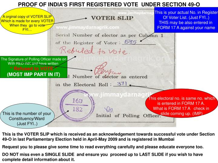 PROOF OF INDIA'S FIRST REGISTERED VOTE  UNDER SECTION 49-O