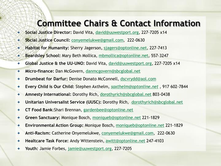 Committee Chairs & Contact Information