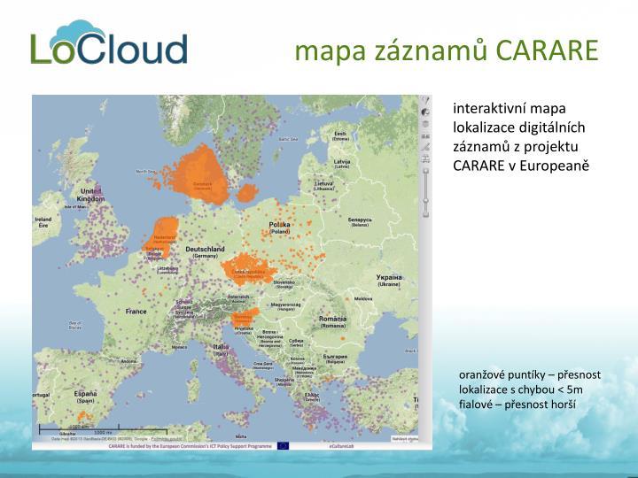 mapa záznamů CARARE