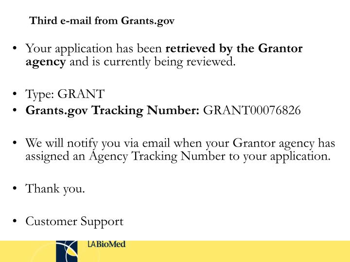 Third e-mail from Grants.gov