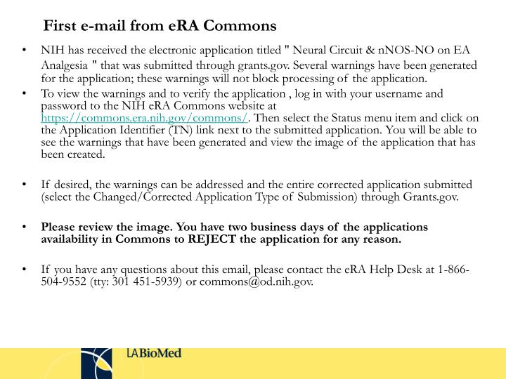 First e-mail from eRA Commons