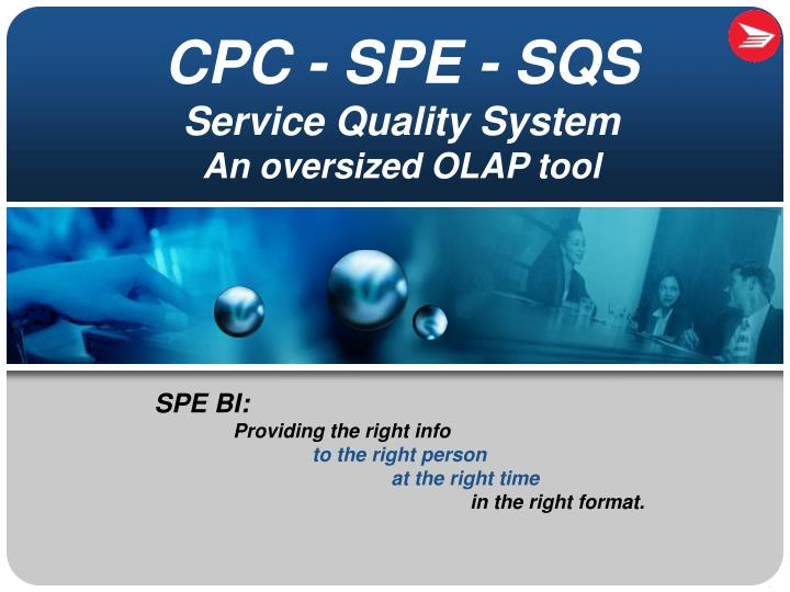 ppt - cpc - spe - sqs service quality system an oversized olap tool, Spe Presentation Template, Presentation templates