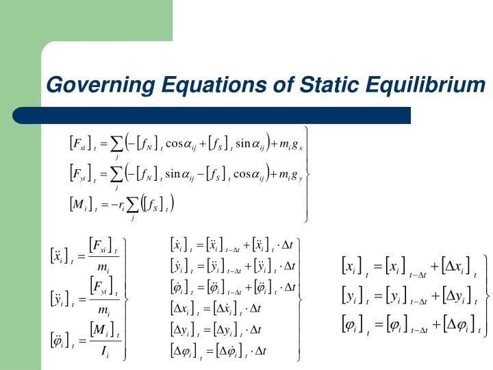 Governing Equations of Static Equilibrium