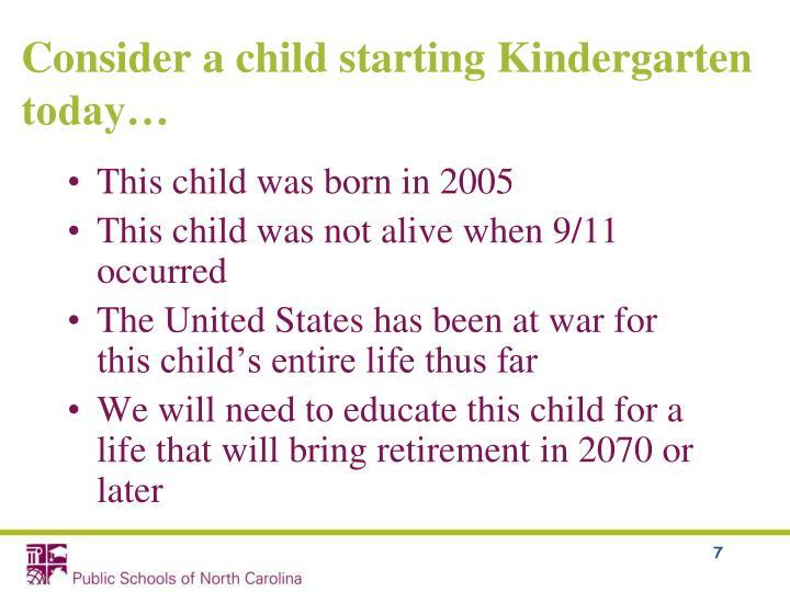 Consider a child starting Kindergarten today…