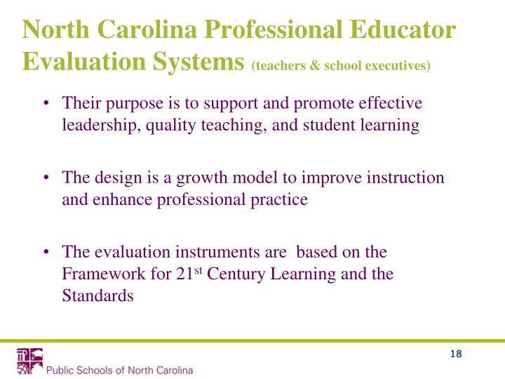 North Carolina Professional Educator Evaluation Systems