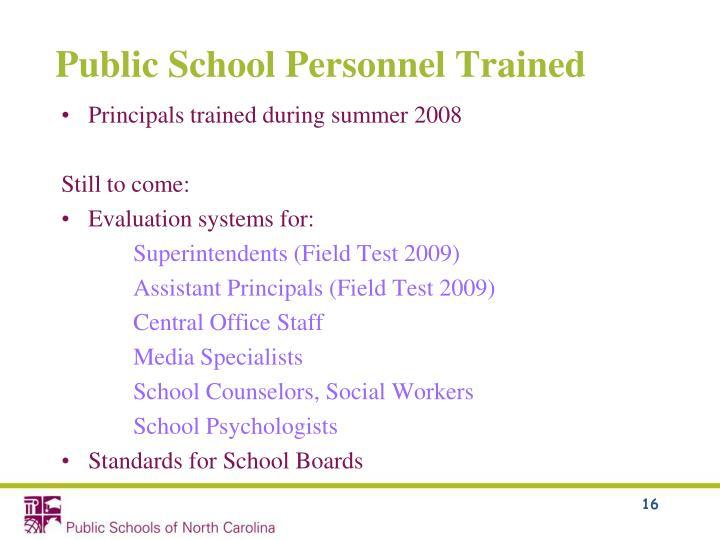 Public School Personnel Trained