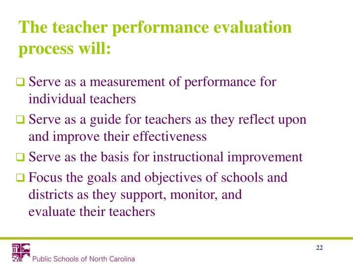 The teacher performance evaluation process will: