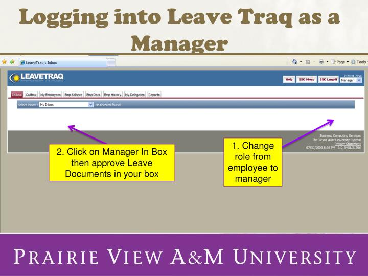 Logging into leave traq as a manager