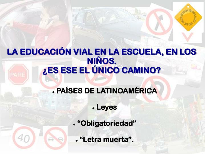 LA EDUCACIÓN VIAL EN LA ESCUELA, EN LOS NIÑOS.