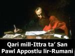 qari mill ittra ta san pawl appostlu lir rumani