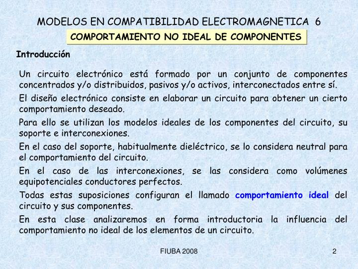 COMPORTAMIENTO NO IDEAL DE COMPONENTES