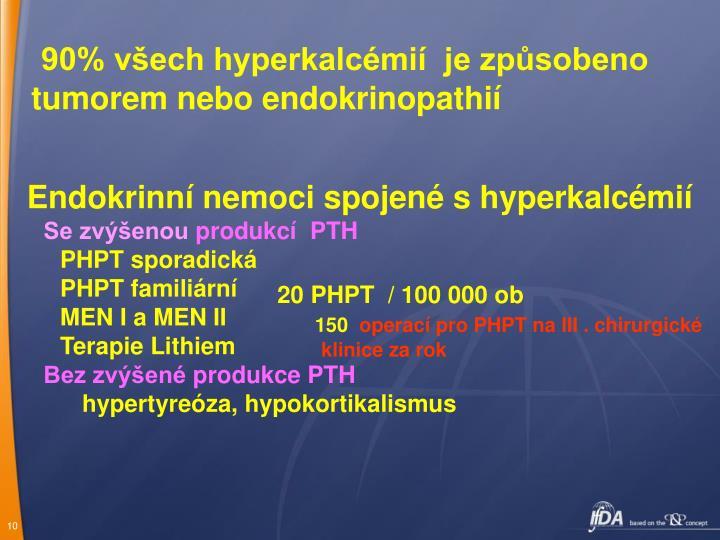 90% všech hyperkalcémií  je způsobeno tumorem nebo endokrinopathií