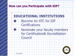 how can you participate with sip2