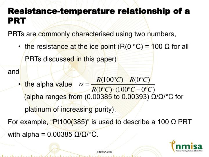 Resistance temperature relationship of a prt