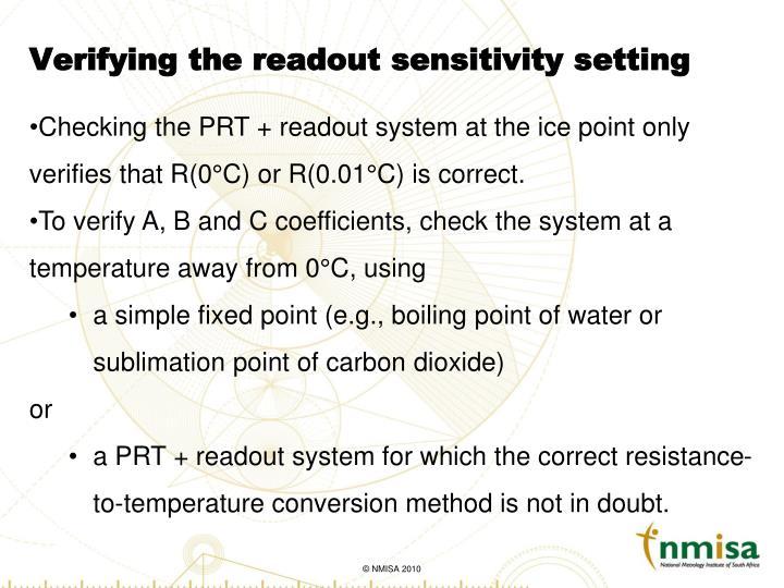 Verifying the readout sensitivity setting