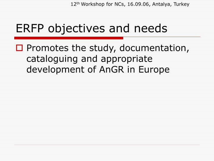 Erfp objectives and needs